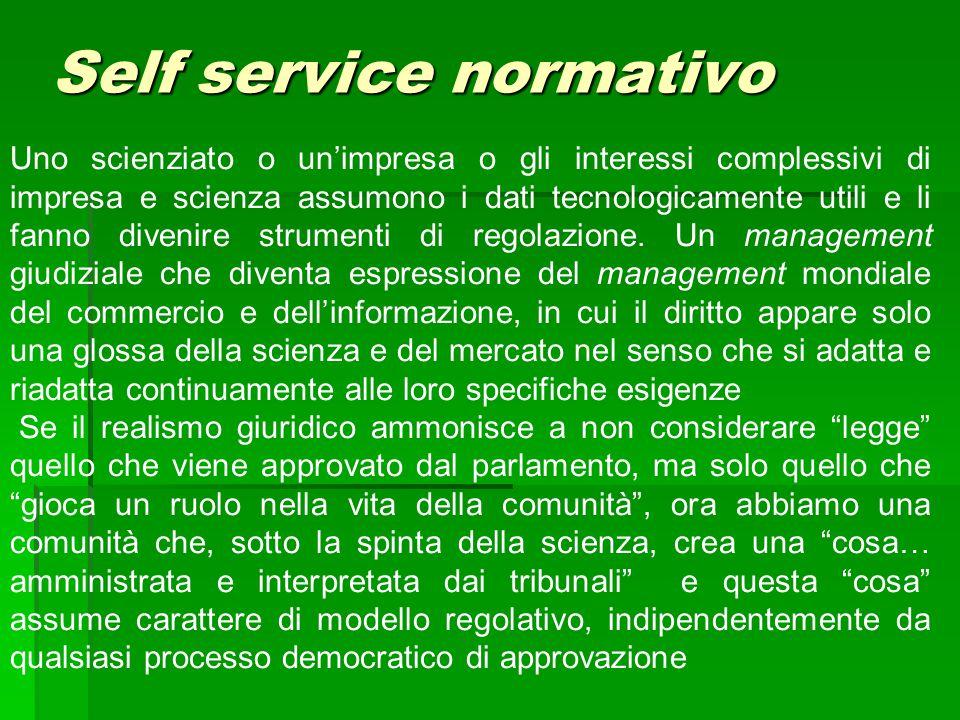 Self service normativo Uno scienziato o un'impresa o gli interessi complessivi di impresa e scienza assumono i dati tecnologicamente utili e li fanno