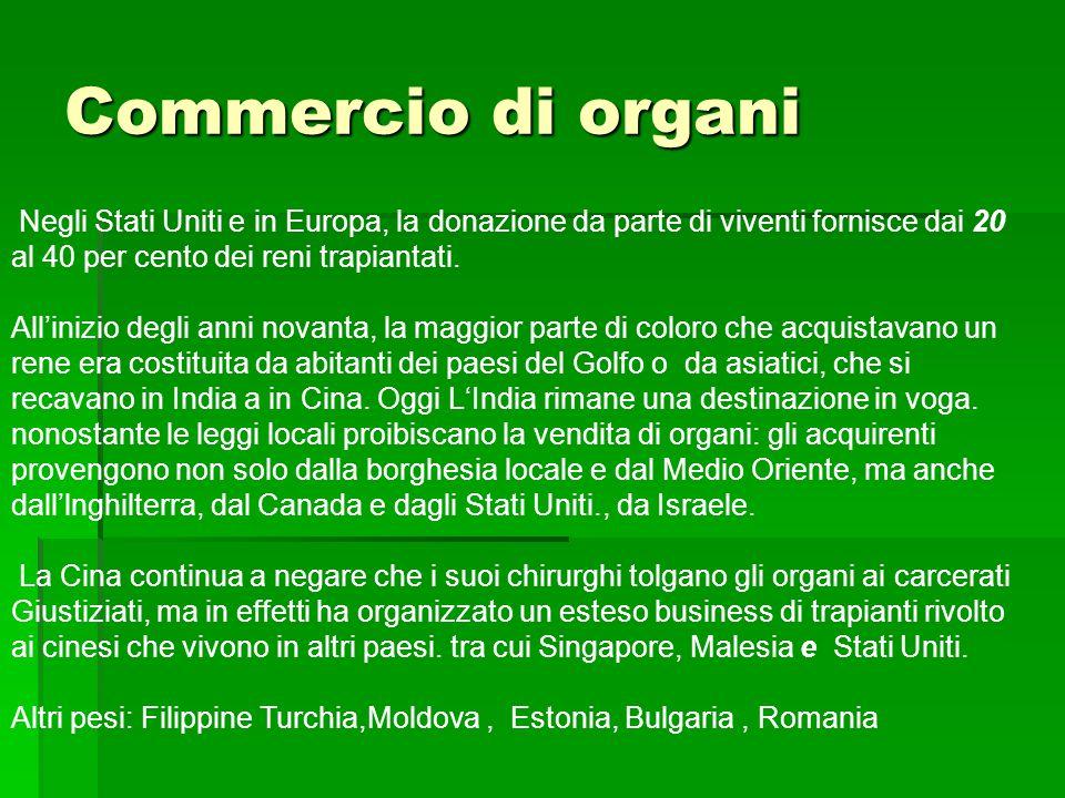Commercio di organi Negli Stati Uniti e in Europa, la donazione da parte di viventi fornisce dai 20 al 40 per cento dei reni trapiantati. All'inizio d