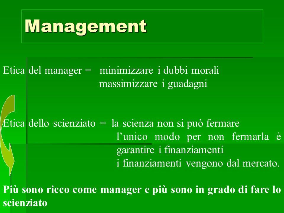 Management Etica del manager = minimizzare i dubbi morali massimizzare i guadagni Etica dello scienziato = la scienza non si può fermare l'unico modo