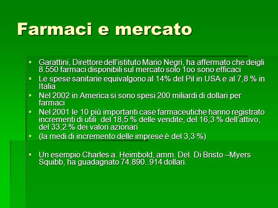 Farmaci e mercato  Garattini, Direttore dell'istituto Mario Negri, ha affermato che deigli 8.550 farmaci disponibili sul mercato solo 1oo sono effica