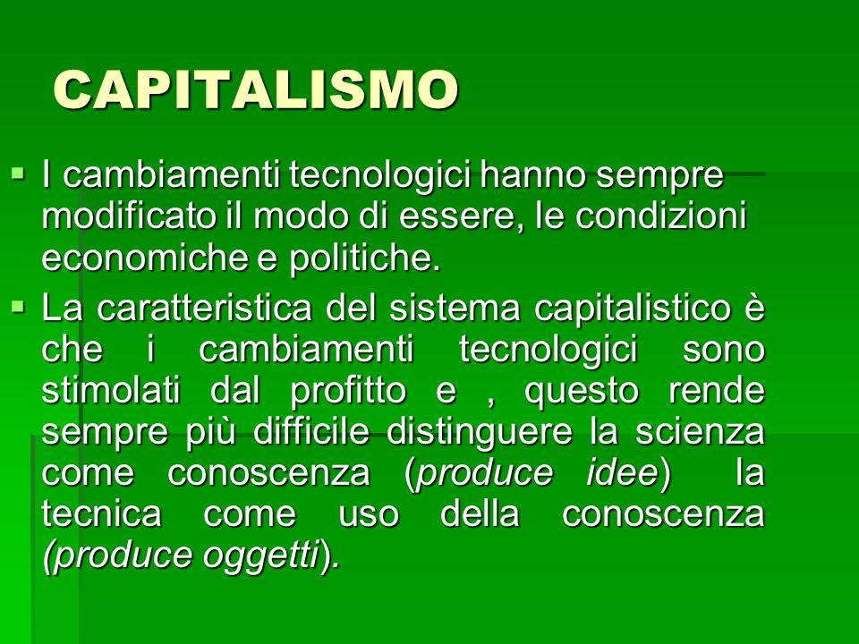 CAPITALISMO  I cambiamenti tecnologici hanno sempre modificato il modo di essere, le condizioni economiche e politiche.  La caratteristica del siste