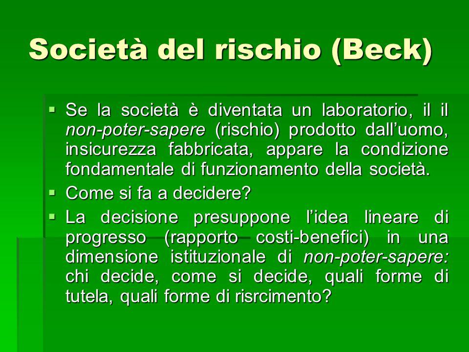Società del rischio (Beck)  Se la società è diventata un laboratorio, il il non-poter-sapere (rischio) prodotto dall'uomo, insicurezza fabbricata, ap
