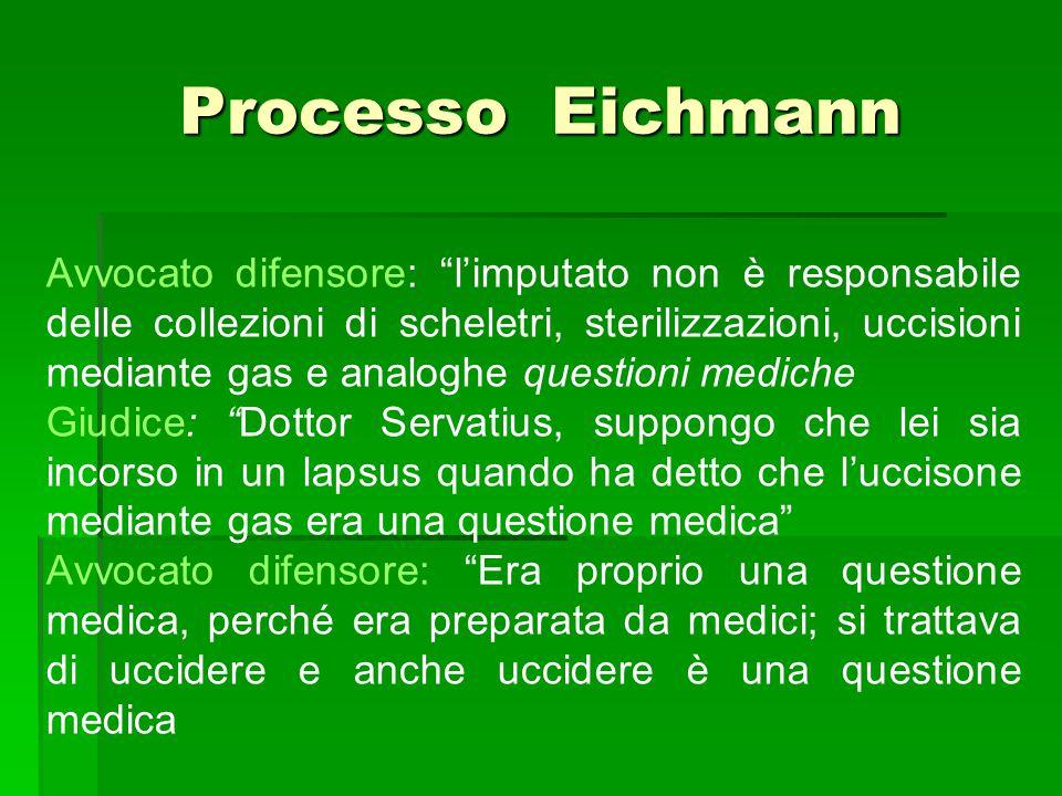"""Processo Eichmann Avvocato difensore: """"l'imputato non è responsabile delle collezioni di scheletri, sterilizzazioni, uccisioni mediante gas e analoghe"""