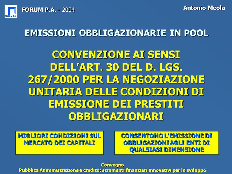 FORUM P.A. - 2004 Antonio Meola Convegno Pubblica Amministrazione e credito: strumenti finanziari innovativi per lo sviluppo EMISSIONI OBBLIGAZIONARIE