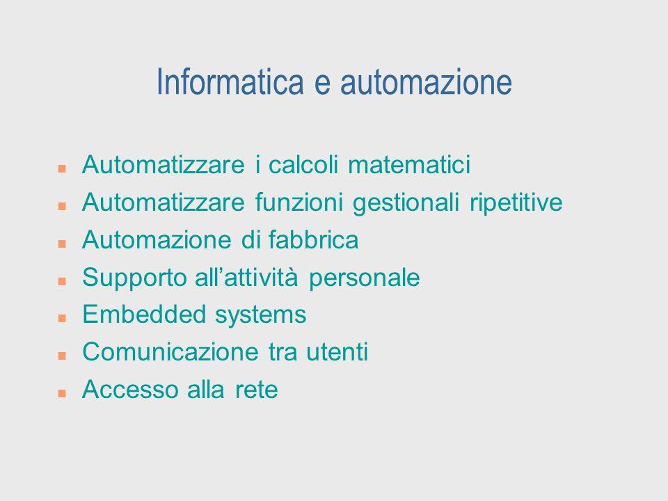 Informatica e automazione n Automatizzare i calcoli matematici n Automatizzare funzioni gestionali ripetitive n Automazione di fabbrica n Supporto all
