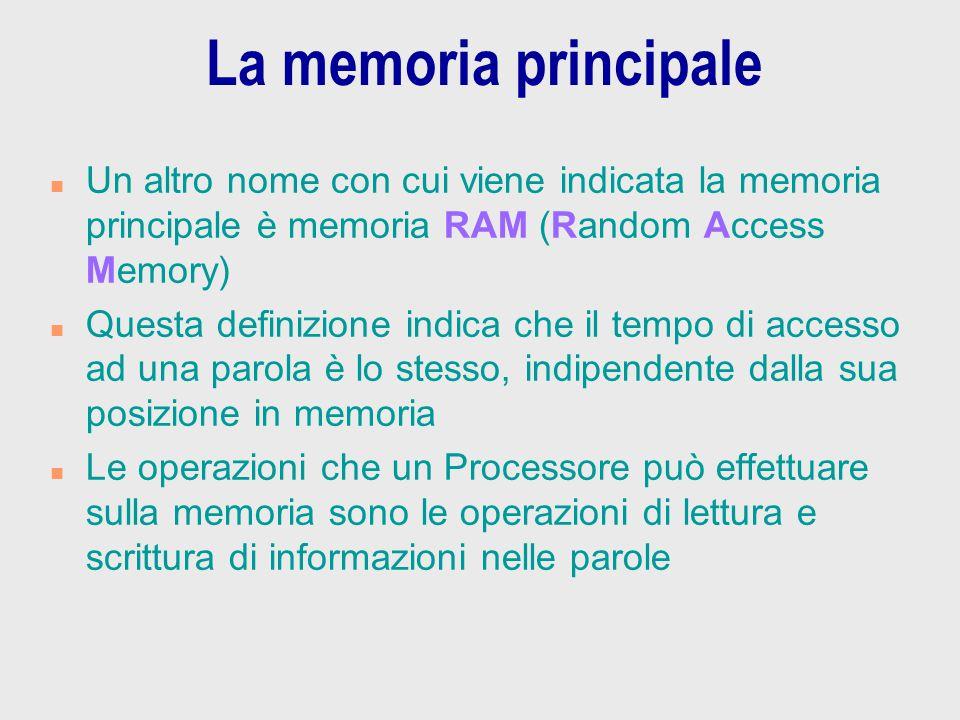 La memoria principale n Un altro nome con cui viene indicata la memoria principale è memoria RAM (Random Access Memory) n Questa definizione indica ch