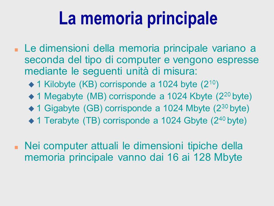 La memoria principale n Le dimensioni della memoria principale variano a seconda del tipo di computer e vengono espresse mediante le seguenti unità di