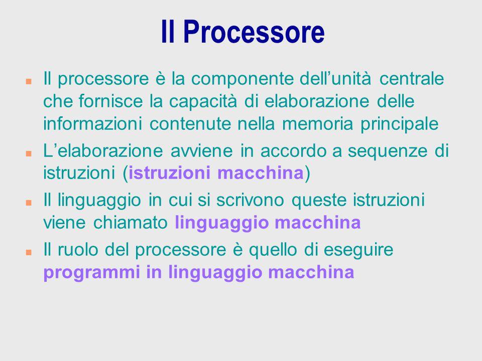 Il Processore n Il processore è la componente dell'unità centrale che fornisce la capacità di elaborazione delle informazioni contenute nella memoria