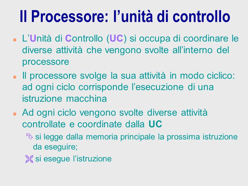 Il Processore: l'unità di controllo n L'Unità di Controllo (UC) si occupa di coordinare le diverse attività che vengono svolte all'interno del process