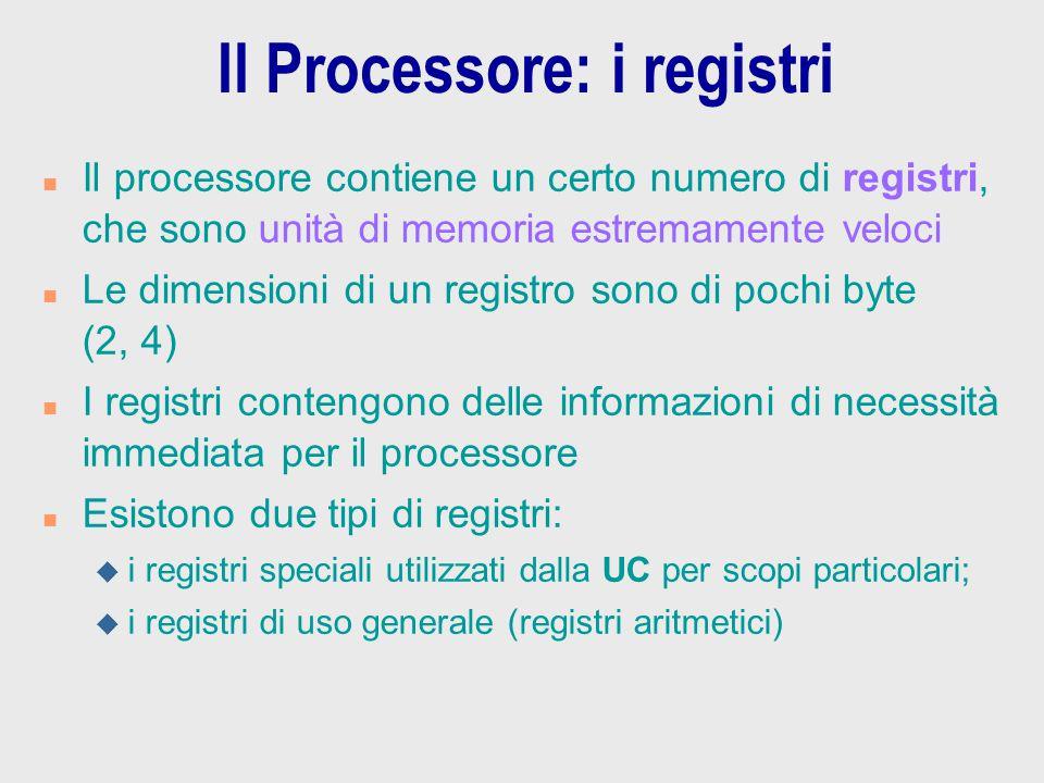Il Processore: i registri n Il processore contiene un certo numero di registri, che sono unità di memoria estremamente veloci n Le dimensioni di un re