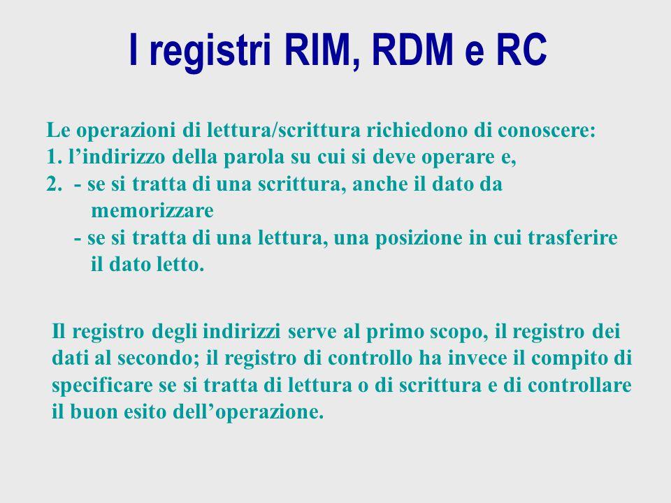 I registri RIM, RDM e RC Le operazioni di lettura/scrittura richiedono di conoscere: 1. l'indirizzo della parola su cui si deve operare e, 2.- se si t