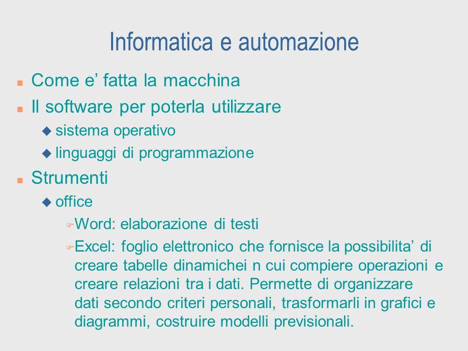 Informatica e automazione n Come e' fatta la macchina n Il software per poterla utilizzare u sistema operativo u linguaggi di programmazione n Strumen