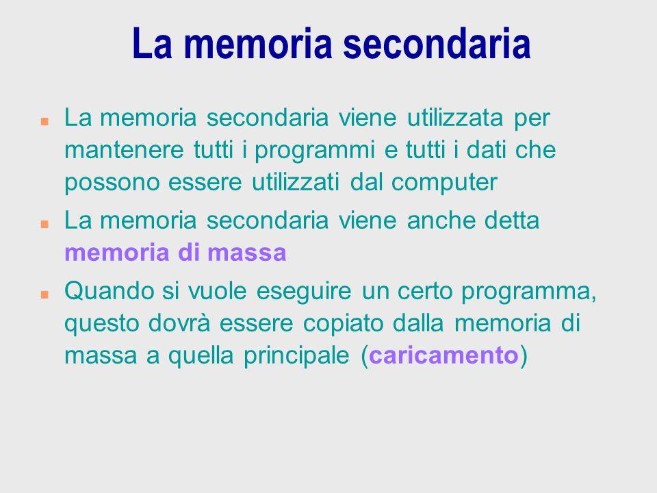 La memoria secondaria n La memoria secondaria viene utilizzata per mantenere tutti i programmi e tutti i dati che possono essere utilizzati dal comput