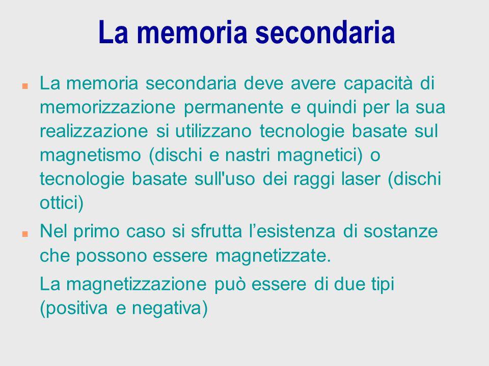 La memoria secondaria n La memoria secondaria deve avere capacità di memorizzazione permanente e quindi per la sua realizzazione si utilizzano tecnolo