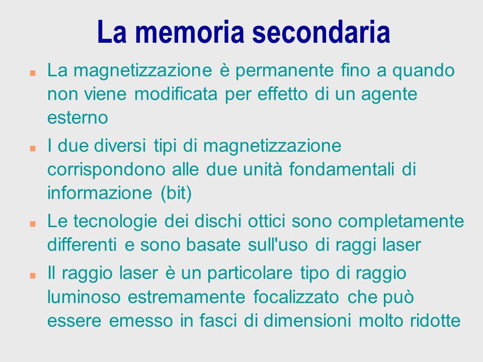 La memoria secondaria n La magnetizzazione è permanente fino a quando non viene modificata per effetto di un agente esterno n I due diversi tipi di ma
