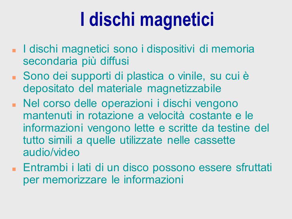 I dischi magnetici n I dischi magnetici sono i dispositivi di memoria secondaria più diffusi n Sono dei supporti di plastica o vinile, su cui è deposi