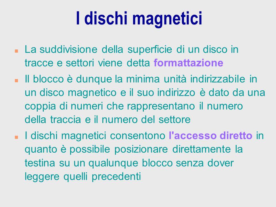 I dischi magnetici n La suddivisione della superficie di un disco in tracce e settori viene detta formattazione n Il blocco è dunque la minima unità i
