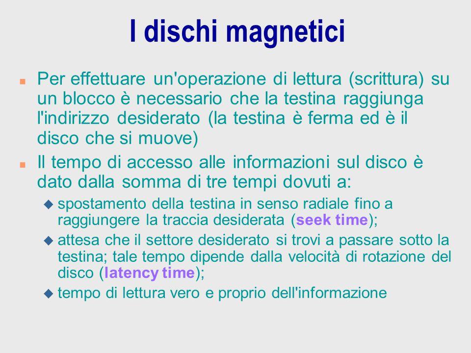 I dischi magnetici n Per effettuare un'operazione di lettura (scrittura) su un blocco è necessario che la testina raggiunga l'indirizzo desiderato (la