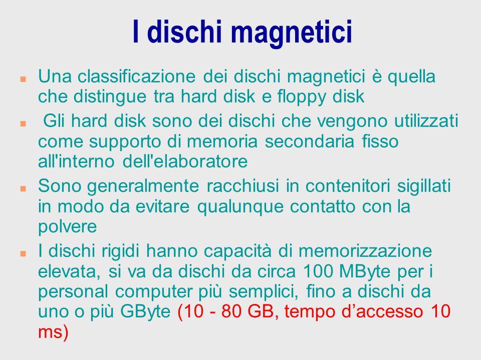 I dischi magnetici n Una classificazione dei dischi magnetici è quella che distingue tra hard disk e floppy disk n Gli hard disk sono dei dischi che v