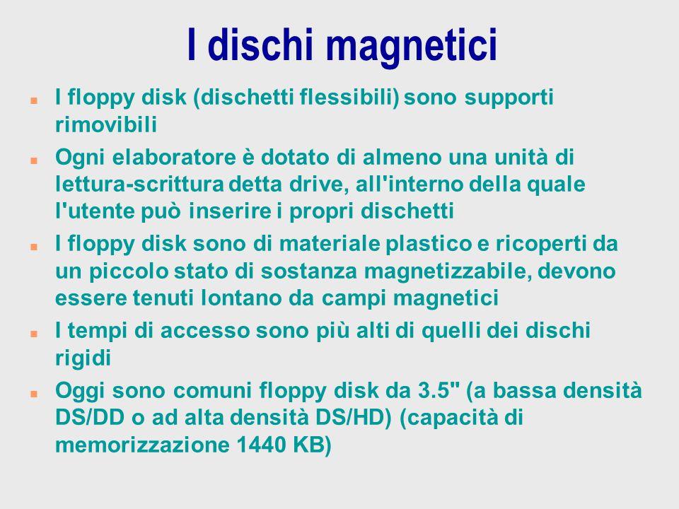 I dischi magnetici n I floppy disk (dischetti flessibili) sono supporti rimovibili n Ogni elaboratore è dotato di almeno una unità di lettura-scrittur