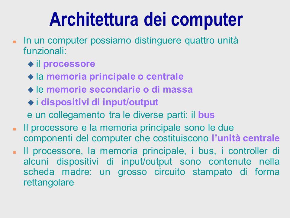 Architettura dei computer n In un computer possiamo distinguere quattro unità funzionali: u il processore u la memoria principale o centrale u le memo