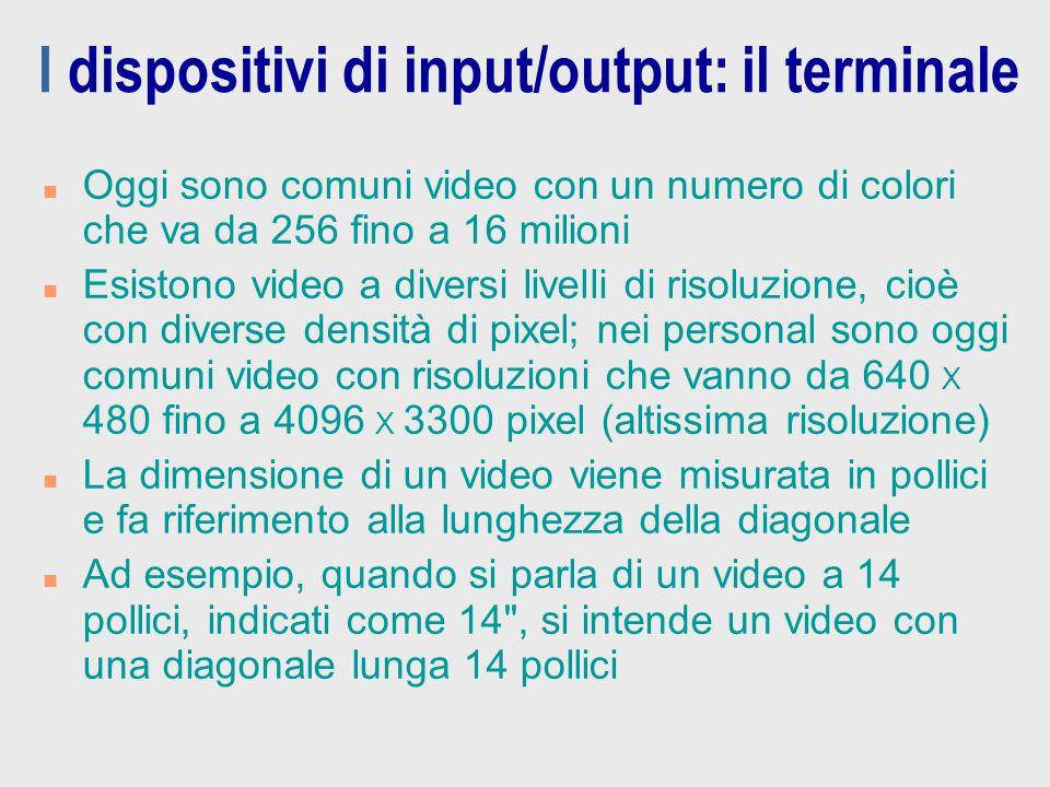 I dispositivi di input/output: il terminale n Oggi sono comuni video con un numero di colori che va da 256 fino a 16 milioni n Esistono video a divers