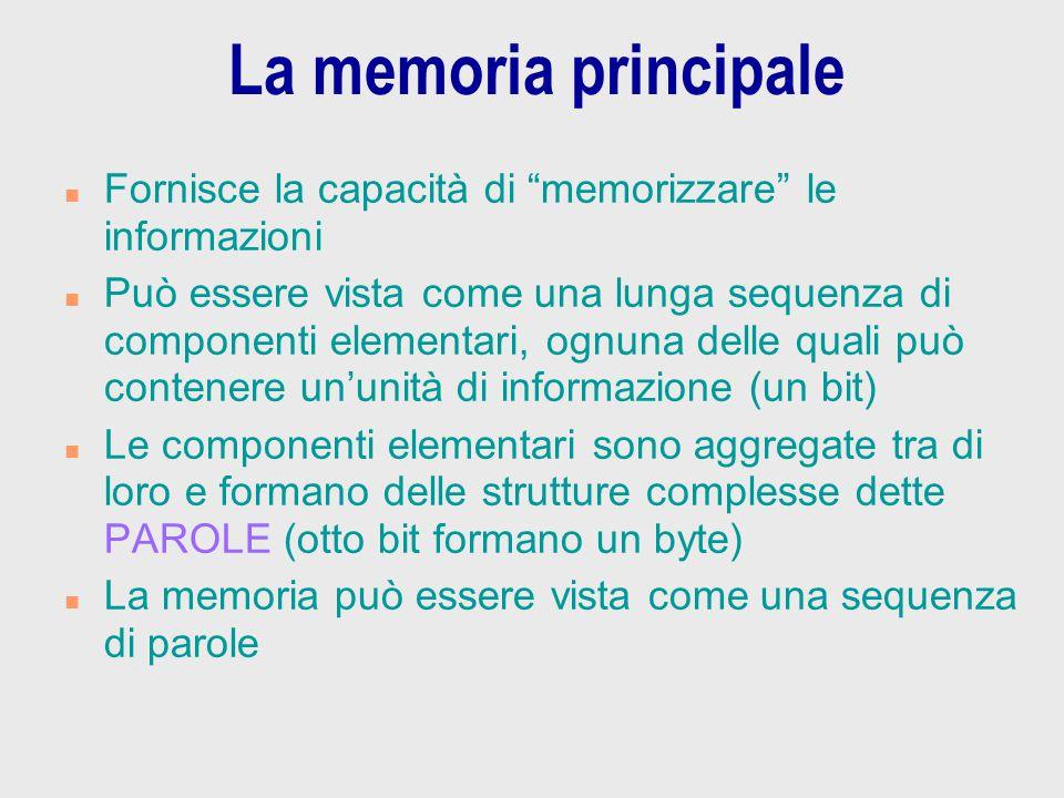"""La memoria principale n Fornisce la capacità di """"memorizzare"""" le informazioni n Può essere vista come una lunga sequenza di componenti elementari, ogn"""