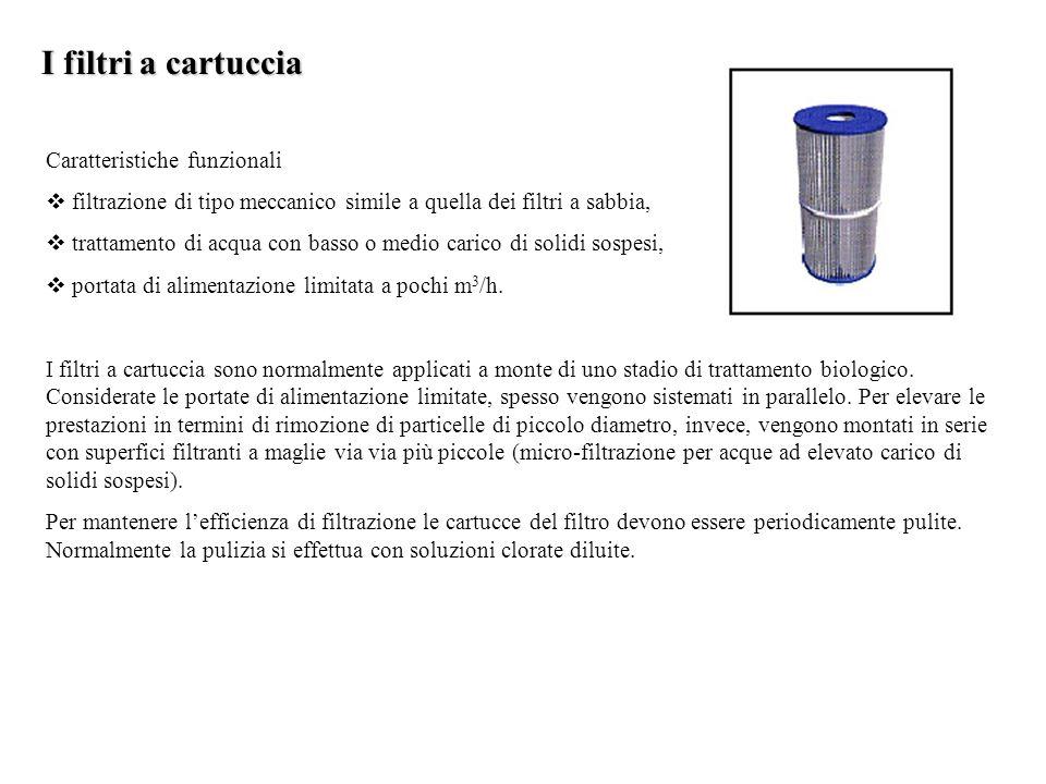 I filtri a cartuccia Caratteristiche funzionali  filtrazione di tipo meccanico simile a quella dei filtri a sabbia,  trattamento di acqua con basso o medio carico di solidi sospesi,  portata di alimentazione limitata a pochi m 3 /h.