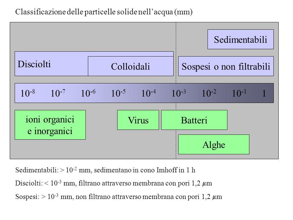 Classificazione delle particelle solide nell'acqua (mm) 10 -8 10 -7 10 -6 10 -5 10 -4 10 -3 10 -2 10 -1 1 Disciolti ColloidaliSospesi o non filtrabili Sedimentabili VirusBatteri Alghe ioni organici e inorganici Sedimentabili: > 10 -2 mm, sedimentano in cono Imhoff in 1 h Disciolti: < 10 -3 mm, filtrano attraverso membrana con pori 1,2  m Sospesi: > 10 -3 mm, non filtrano attraverso membrana con pori 1,2  m