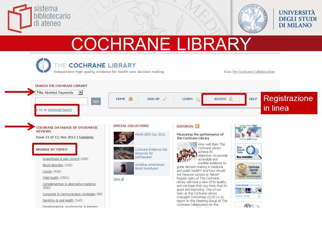 COCHRANE LIBRARY Registrazione in linea