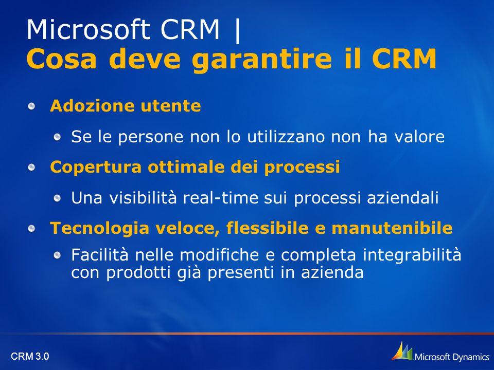 CRM 3.0 Adozione utente Se le persone non lo utilizzano non ha valore Copertura ottimale dei processi Una visibilità real-time sui processi aziendali