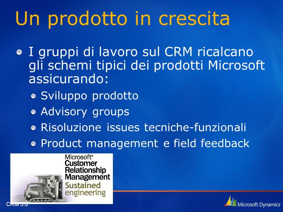 CRM 3.0 Un prodotto in crescita I gruppi di lavoro sul CRM ricalcano gli schemi tipici dei prodotti Microsoft assicurando: Sviluppo prodotto Advisory