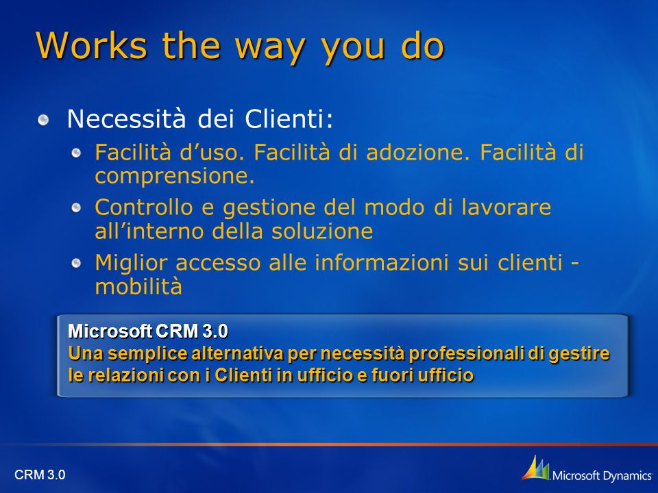 CRM 3.0 Works the way you do Necessità dei Clienti: Facilità d'uso.