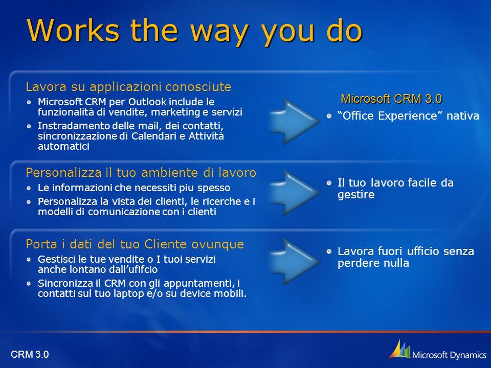 """CRM 3.0 """"Office Experience"""" nativa Lavora fuori ufficio senza perdere nulla Il tuo lavoro facile da gestire Microsoft CRM 3.0 Lavora su applicazioni c"""
