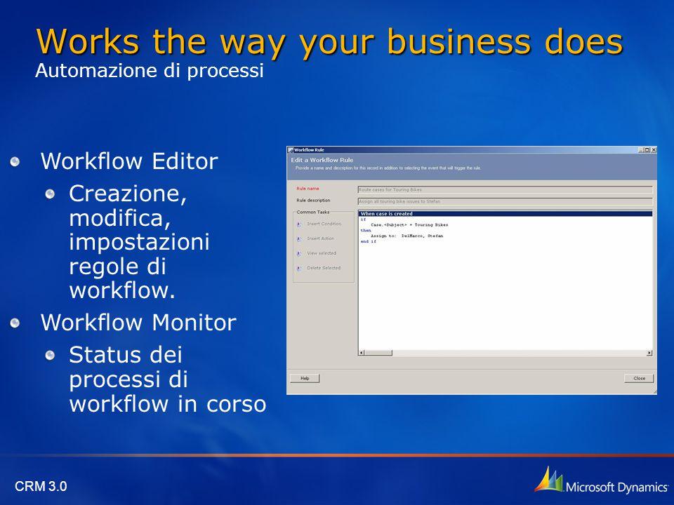 CRM 3.0 Workflow Editor Creazione, modifica, impostazioni regole di workflow. Workflow Monitor Status dei processi di workflow in corso Works the way