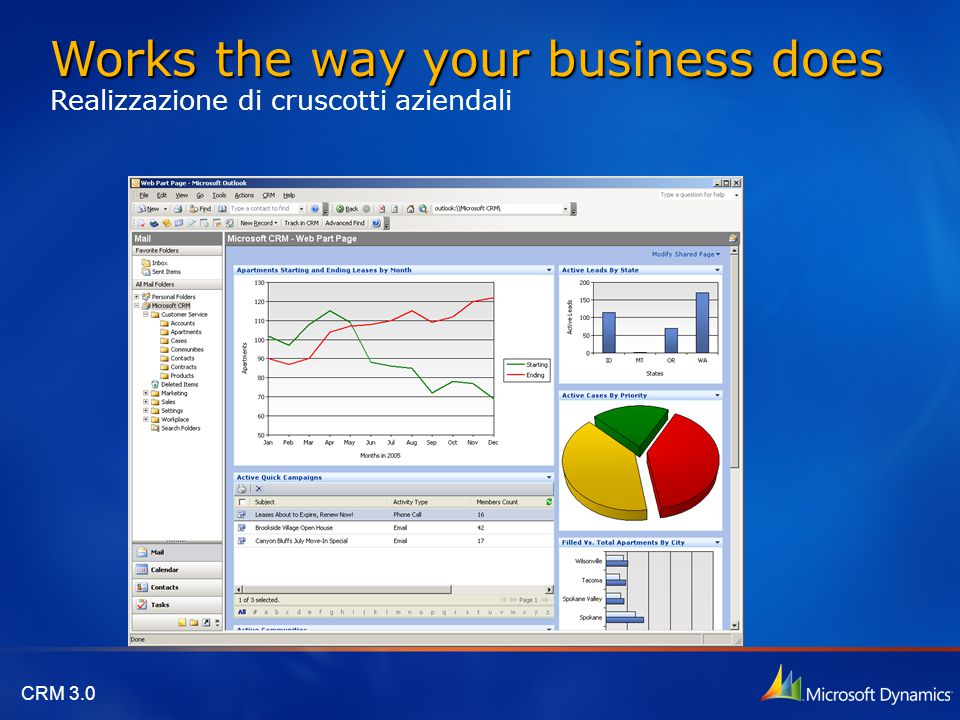 CRM 3.0 Works the way your business does Works the way your business does Realizzazione di cruscotti aziendali