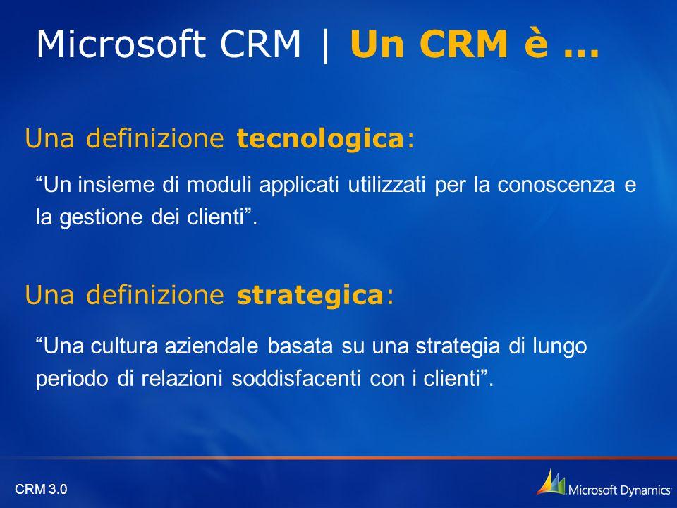 """CRM 3.0 Una definizione tecnologica: """"Un insieme di moduli applicati utilizzati per la conoscenza e la gestione dei clienti"""". Una definizione strategi"""
