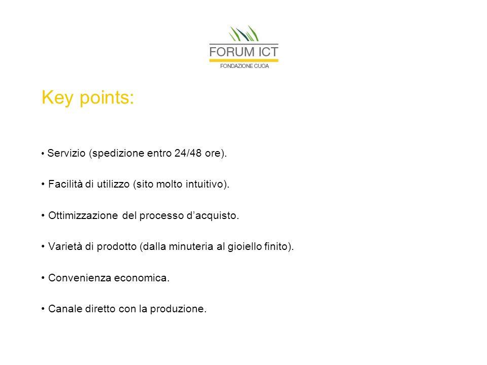 Key points: Servizio (spedizione entro 24/48 ore).
