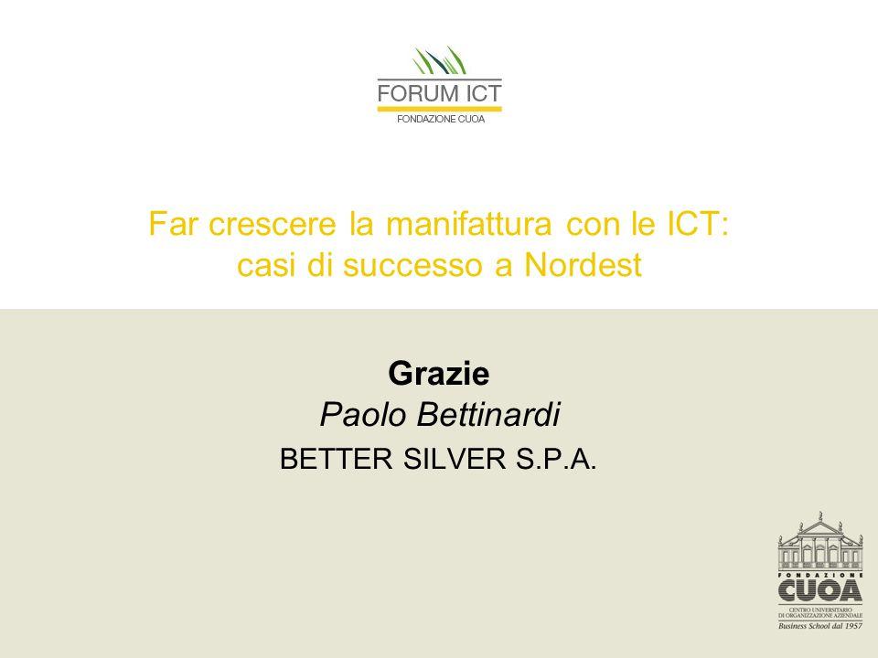 Far crescere la manifattura con le ICT: casi di successo a Nordest Grazie Paolo Bettinardi BETTER SILVER S.P.A.