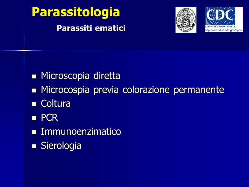 Parassitologia Parassiti ematici Microscopia diretta Microscopia diretta Microcospia previa colorazione permanente Microcospia previa colorazione perm