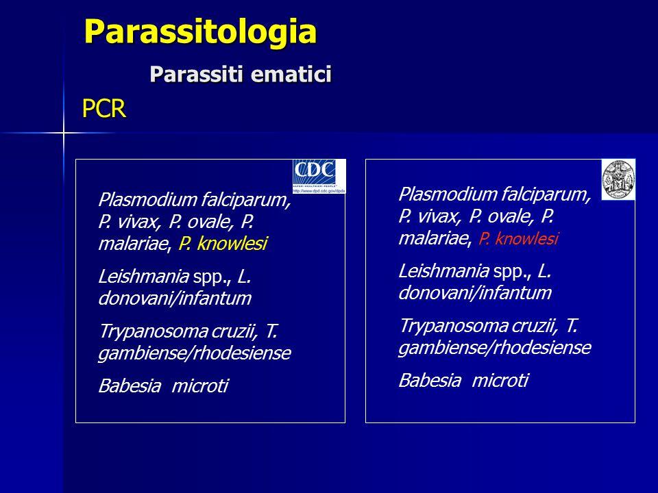 Parassitologia Parassiti ematici PCR Plasmodium falciparum, P. vivax, P. ovale, P. malariae, P. knowlesi Leishmania spp., L. donovani/infantum Trypano
