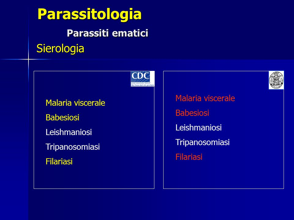 Parassitologia Parassiti ematici Sierologia Malaria viscerale Babesiosi Leishmaniosi Tripanosomiasi Filariasi Malaria viscerale Babesiosi Leishmaniosi