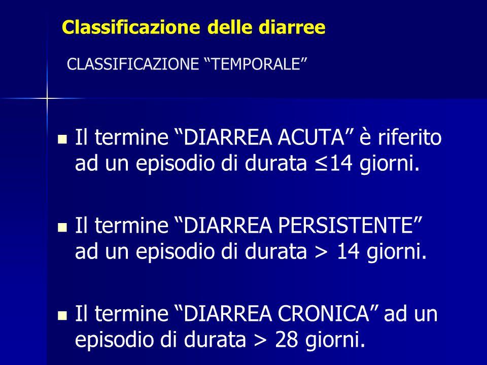 """Classificazione delle diarree CLASSIFICAZIONE """"TEMPORALE"""" Il termine """"DIARREA ACUTA"""" è riferito ad un episodio di durata ≤14 giorni. Il termine """"DIARR"""