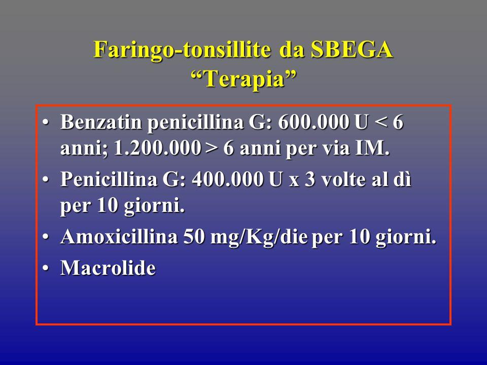 Faringo-tonsillite da SBEGA Terapia Benzatin penicillina G: 600.000 U 6 anni per via IM.Benzatin penicillina G: 600.000 U 6 anni per via IM.