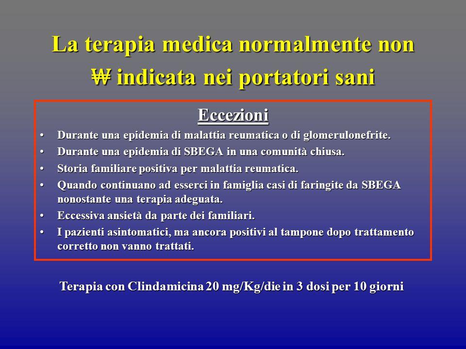 La terapia medica normalmente non ₩ indicata nei portatori sani Eccezioni Durante una epidemia di malattia reumatica o di glomerulonefrite. Durante un
