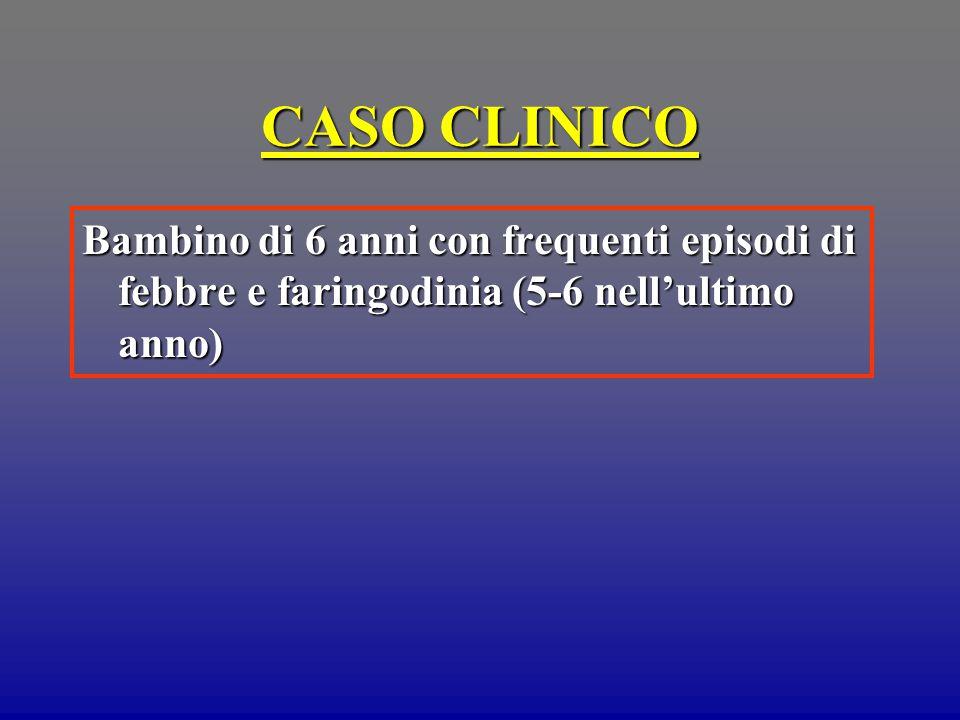CASO CLINICO Bambino di 6 anni con frequenti episodi di febbre e faringodinia (5-6 nell'ultimo anno)
