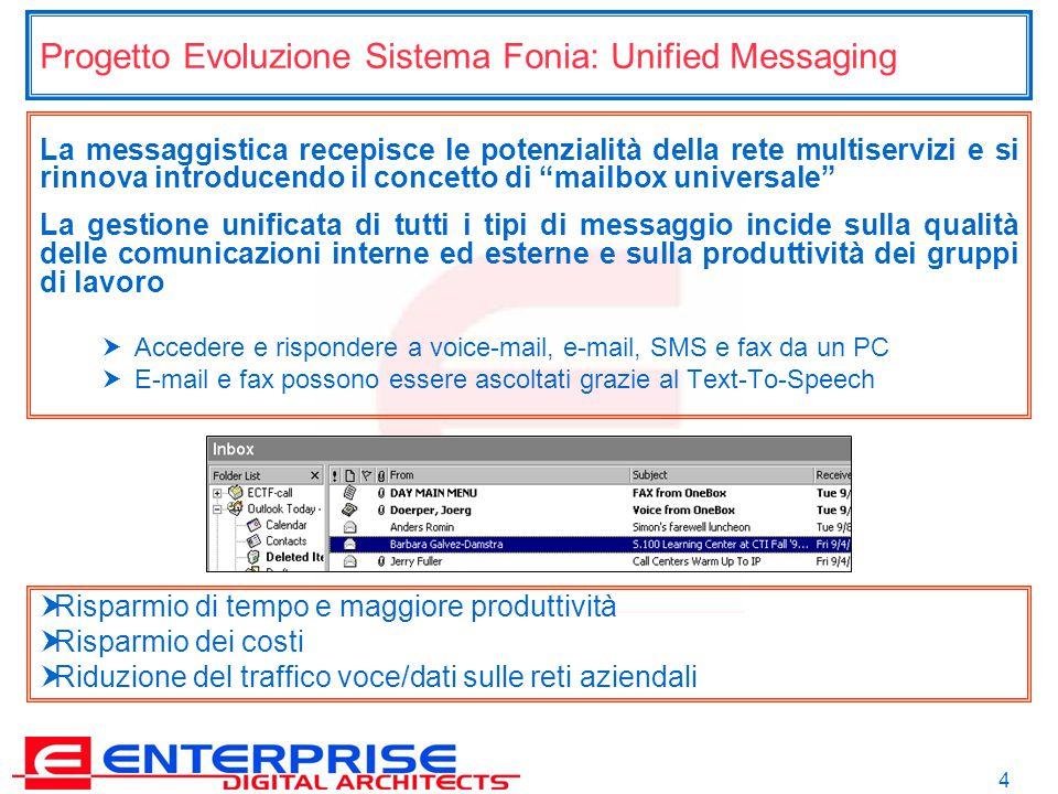 4 Progetto Evoluzione Sistema Fonia: Unified Messaging La messaggistica recepisce le potenzialità della rete multiservizi e si rinnova introducendo il concetto di mailbox universale La gestione unificata di tutti i tipi di messaggio incide sulla qualità delle comunicazioni interne ed esterne e sulla produttività dei gruppi di lavoro  Accedere e rispondere a voice-mail, e-mail, SMS e fax da un PC  E-mail e fax possono essere ascoltati grazie al Text-To-Speech  Risparmio di tempo e maggiore produttività  Risparmio dei costi  Riduzione del traffico voce/dati sulle reti aziendali