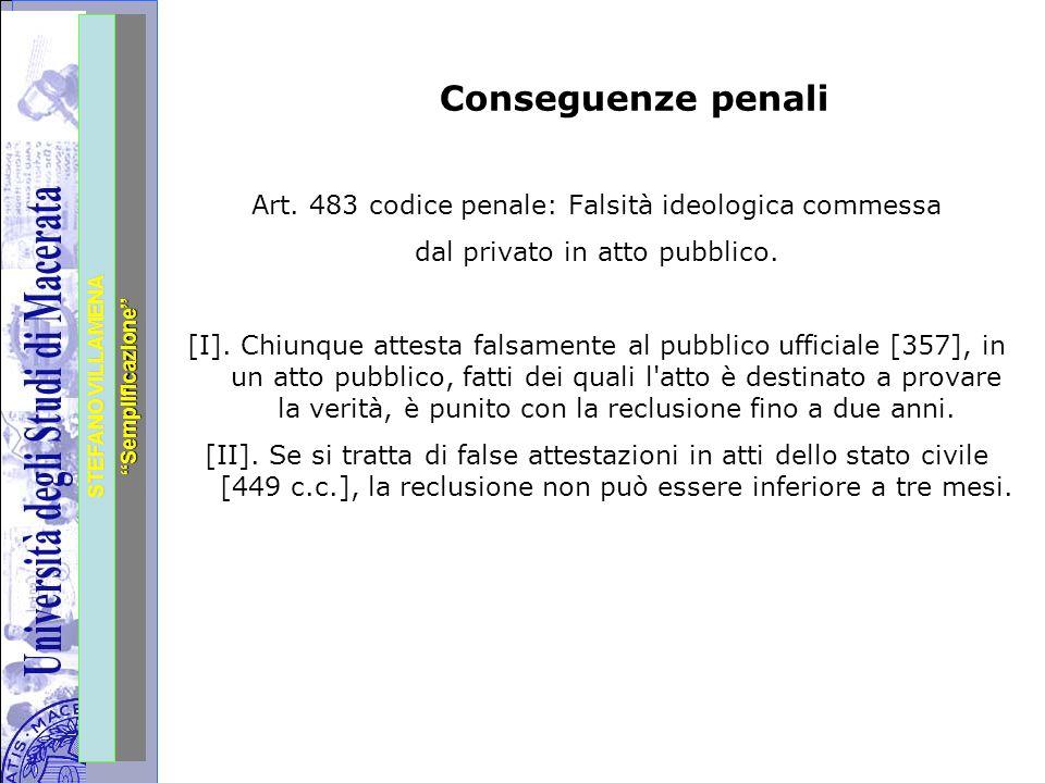 """Università degli Studi di Perugia STEFANO VILLAMENA """"Semplificazione"""" Conseguenze penali Art. 483 codice penale: Falsità ideologica commessa dal priva"""