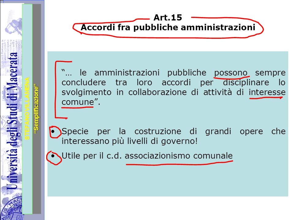 """Università degli Studi di Perugia STEFANO VILLAMENA """"Semplificazione"""" Art.15 Accordi fra pubbliche amministrazioni """"… le amministrazioni pubbliche pos"""