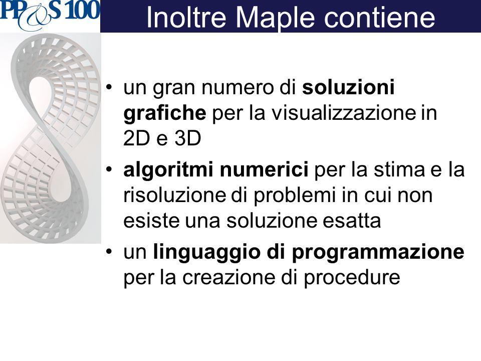 Inoltre Maple contiene un gran numero di soluzioni grafiche per la visualizzazione in 2D e 3D algoritmi numerici per la stima e la risoluzione di problemi in cui non esiste una soluzione esatta un linguaggio di programmazione per la creazione di procedure